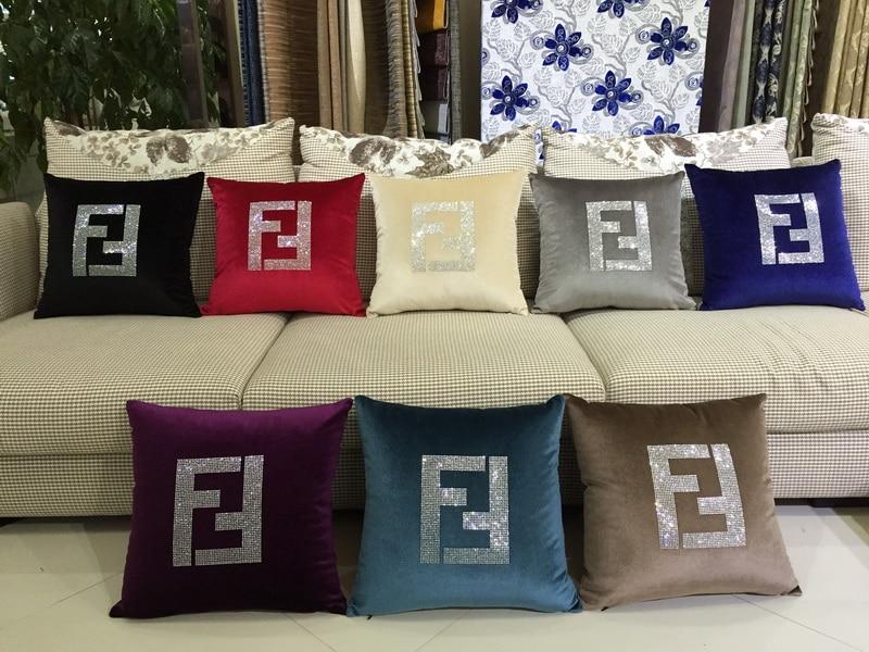 F pillow cover, Creative art Paris FF luxury Crystal diamond Velvet Fabric throw pillow case pillowcase wholesale