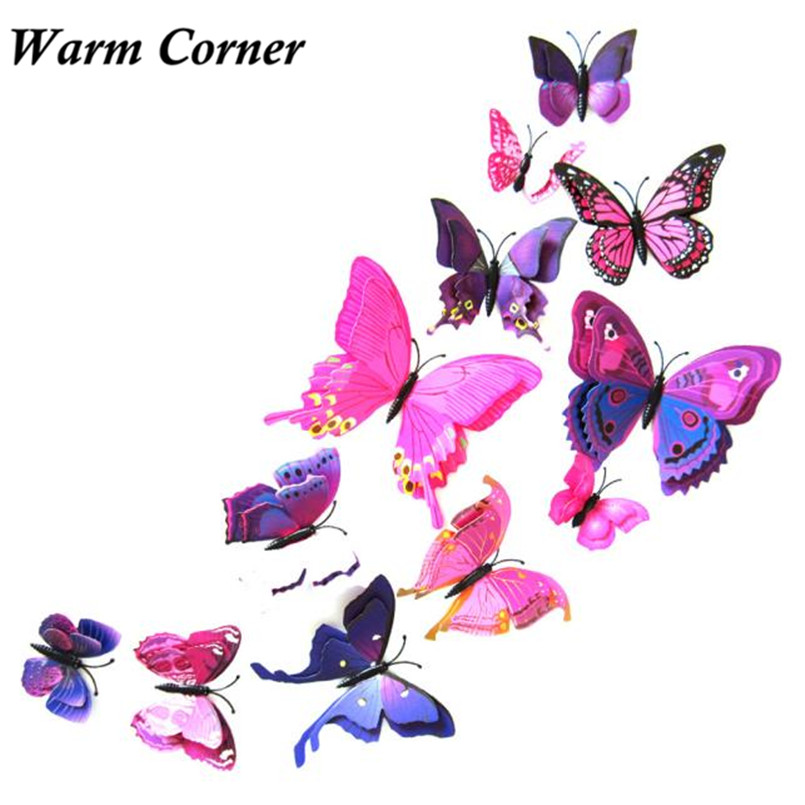 12Pcs 5 Colors Curtain Home Decor 3D Butterfly Shape Room Sticker Pin Wall Clothe Brooch GIft Free Shipping F27