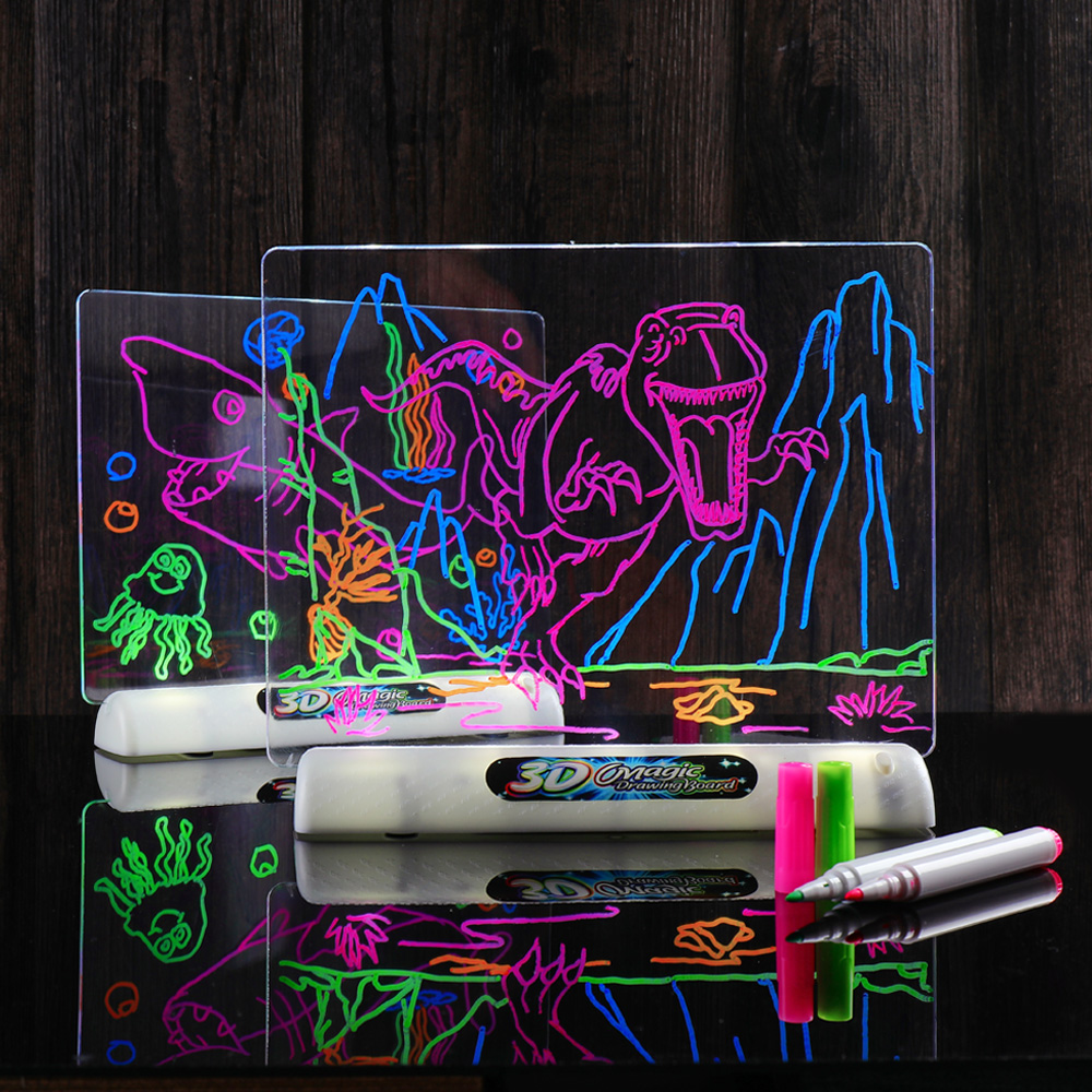 Enjoybay 3D Drawing Board Toys Light Up Colorful Pen Painting Board Glow in Dark Kids Drawing Toy Educational Gifts for Children