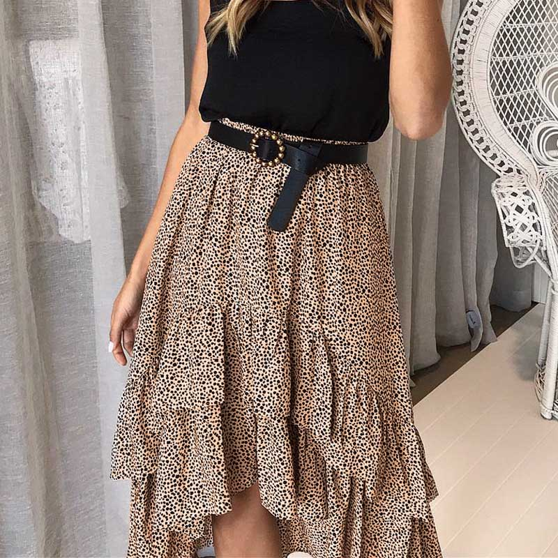 2019 Autumn Women Boho Chiffon Holiday Skirts Summer High Waist Female Polka Dot A-Line Ruffles Midi Beach Flare Skirt For Women