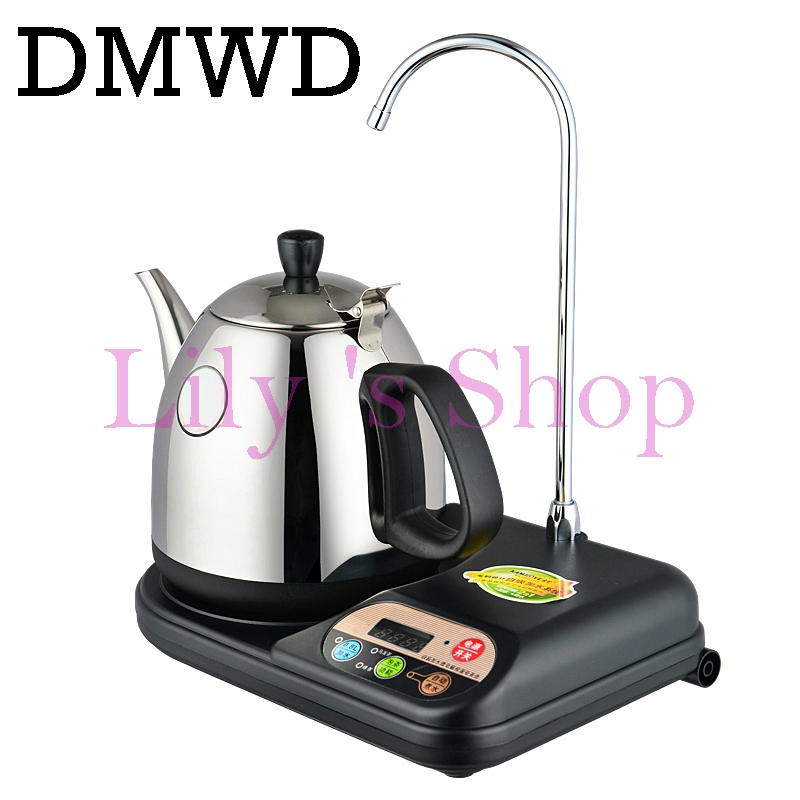DMWD Automatic Pump Water Dispenser Electric Kettle Feeder Stainless Steel Teapot Heater Boiler Pumping Device Boiled Tea Pot 1L