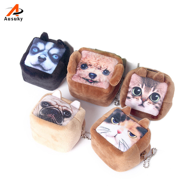 New Square Coin Purses Wallet Ladies 3D Cats Dogs Animal Big Face Change Fashion Cute Headphones Zipper Bag For Women 45