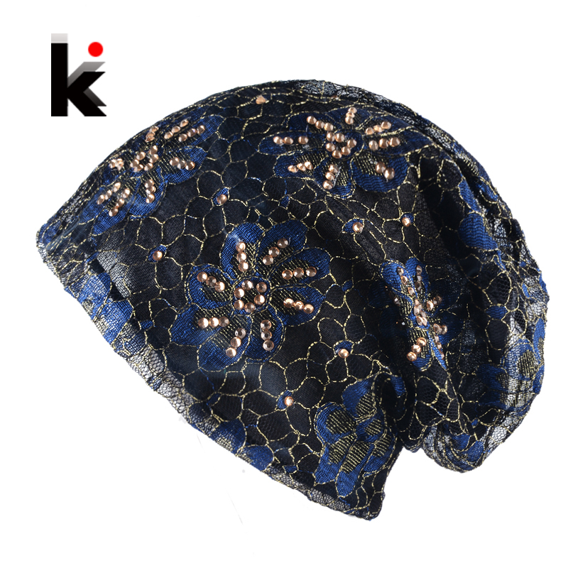 Women's Beanie Hat Lace Flower Rhinestones Turban Thin Skullies Hat For Ladies Spring And Autumn Bonnet Female Beanies Cap Women skullies