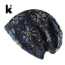 Женская Шапочка Hat Кружева Цветок Стразами Тюрбан Тонкие Skullies Hat Для Дам Весной И Осенью Капот Женские Шапочки Cap женщины