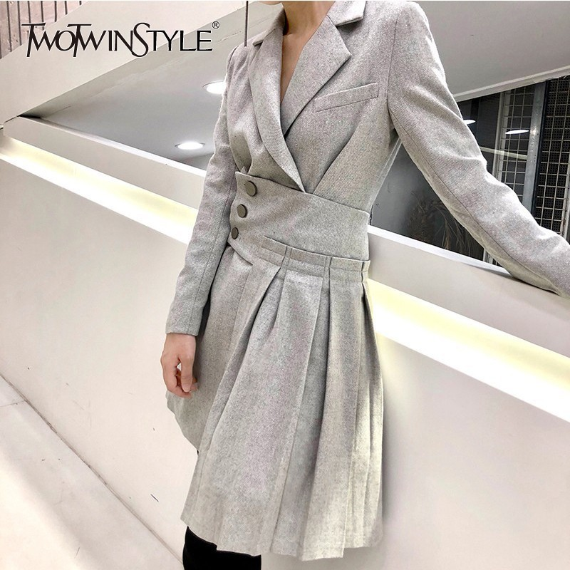 TWOTWINSTYLE Patchwork Pleated Cummerbund Windbreaker Tops Women Long Sleeve   Trench   Coat Female Fashion Clothes 2018 Autumn New