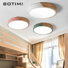 BOTIMI 220V LED Ceiling Lights Nordic Style Round Mounted Lamp For Bedroom Wooden Kitchen Lighting Fixture