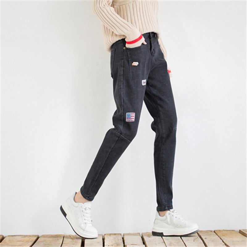 Taille Noir Lavé Pantalon Patchwork Velours Vintage Femelle Femmes 2018 Haute Crayon Plus Polaire De Couture bleu Élastique Marque Jeans vwTITHx7
