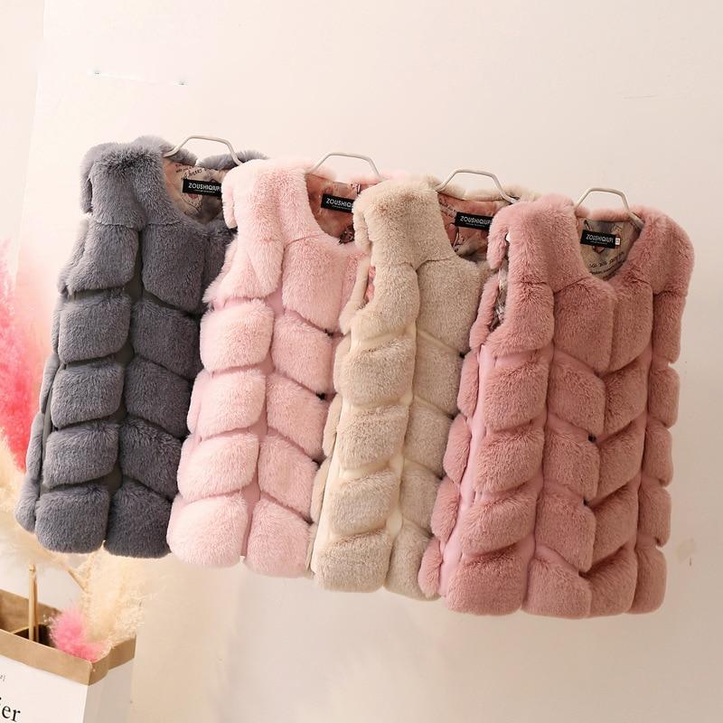 2018 Autumn &winter Clothes Imitation Rex rabbit fur children's fur vest boys and girls splicing Furry Coat Girl Faux Fur Vest pearl beading faux fur pocket ribbed dress