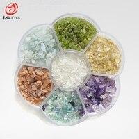 תיבת חרוזים חרוזים קריסטל הטבעי 7 צבע חם צ 'אקרה גלם טבעי חרוזים יקרים למחצה שבב עבור מתנות לאקי צדפות פנינים