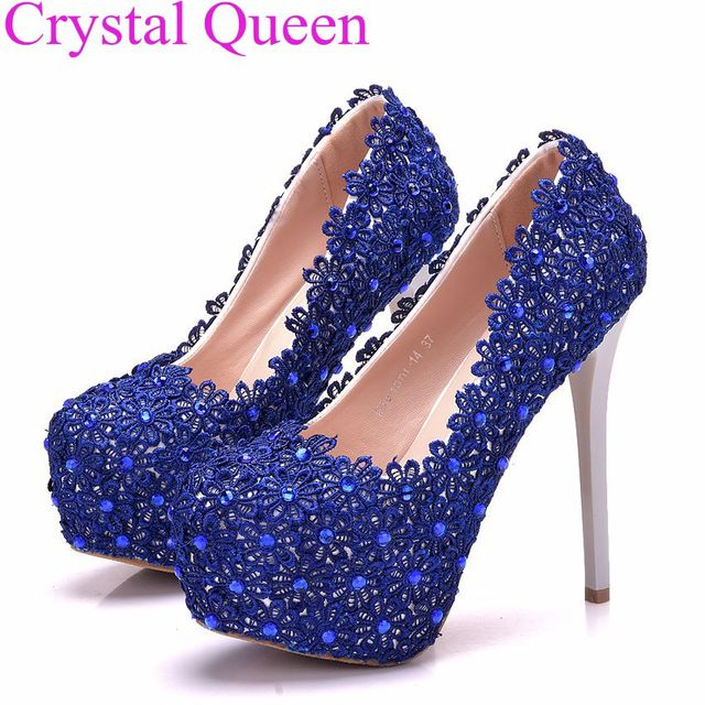 09f297bb5 Azul Royal saltos sapatas das mulheres de alta qualidade Elegante laço azul  plataforma saltos finos saltos