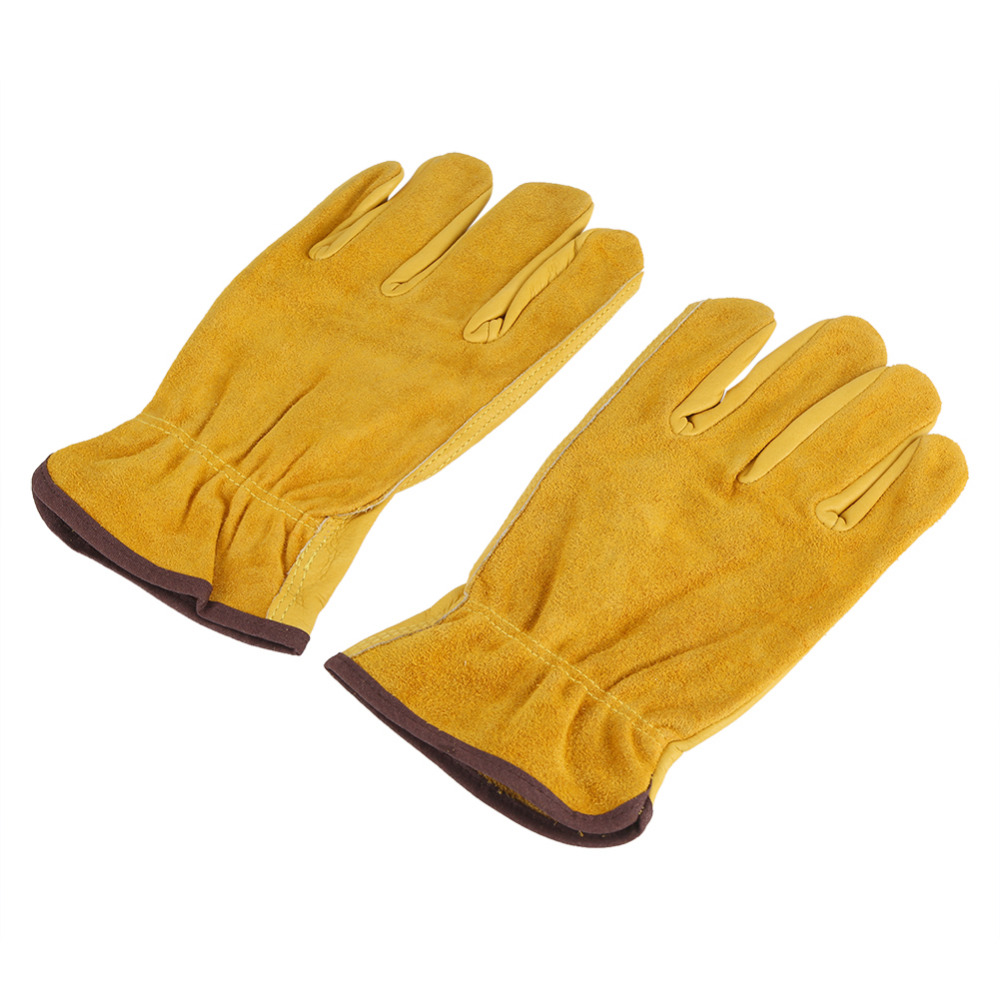 1Pair 2 Layers Leather Gloves Working Protection Gloves Garden Labor Gloves Gardening Tools