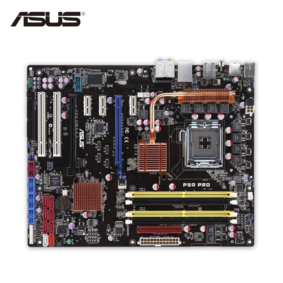 Original Used Asus P5Q Pro Desktop Motherboard P45 Socket LGA 775 DDR2 16G SATA2 USB2.0 ATX 100% Fully Test original used asus p5kpl desktop motherboard g31 socket lga 775 ddr2 sata2 atx 100% fully test