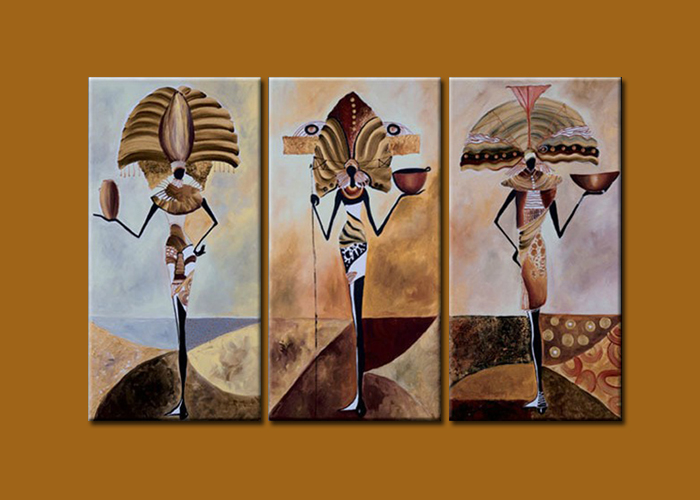 African tribes dancing modern abstract landscape oil for Africa express presents maison des jeunes