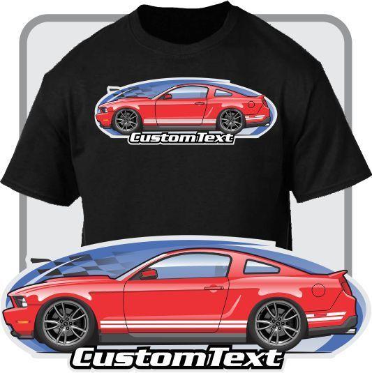 2018 Fashion Custom Art T-Shirt 2010 11 12 13 14 Mustang 5.0 Boss GT Not Affiliated with American Classic Car Fans Base Shirt
