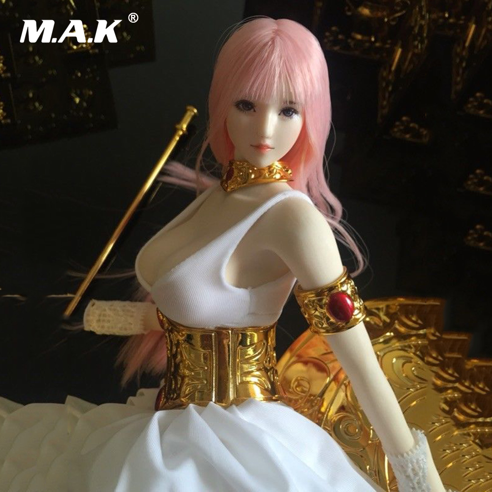 1/6 Scale Female Pale Athena Head Carving Pink Long Hair Fit 12 Girl Action Figure Body Toys