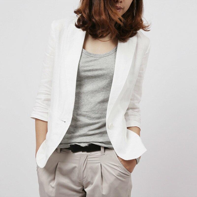 2020 Spring Summer Slim Fit Blazer Women Formal Jackets Office Work Notched 3/4 Sleeve Cotton Linen Blazer White Blue Plus Size