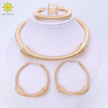 Dubai Gold Color Jewelry Sets For Women Nigerian Wedding African Beads Necklace Chokers Earrings Bracelet Ring Accessories