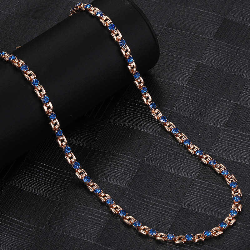 Cor mulit cz colar de cristal para as mulheres 585 ouro rosa 1 linha moda jóias das mulheres colares atacado 20 polegada corrente dgnm129