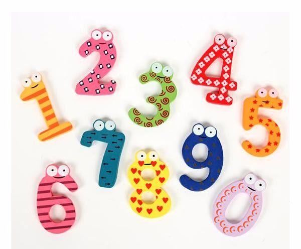 Лидер продаж 2016 года распродажа 10 деревянный Количество 0-9 Прекрасный Магниты на холодильник игрушка набор для детей дети новый