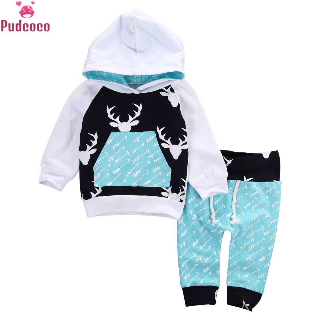 Autumn Winter Christmas Kids Baby Girls Boys Reindeer Hooded Tops +Pants Outfits Set 2pcs Suit Baby Boy Clothes Newborn