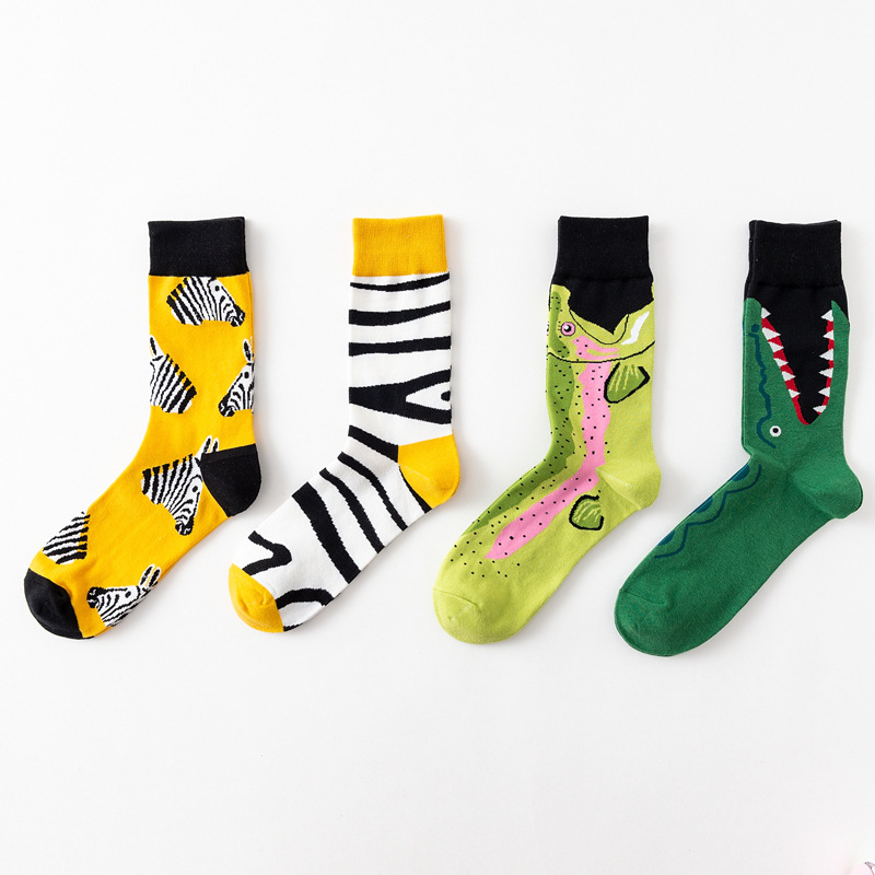 5 colors Harajuku Korean version of male happy   socks   high quality combed cotton crocodile / zebra animal funny casual   socks