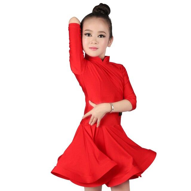 Новый красный спандекс Стенд воротник Костюмы для латиноамериканских танцев платье для танцев Обувь для девочек Для детей Половина рукава Молния сзади Костюмы для бальных танцев танцевальные костюмы Тонкий