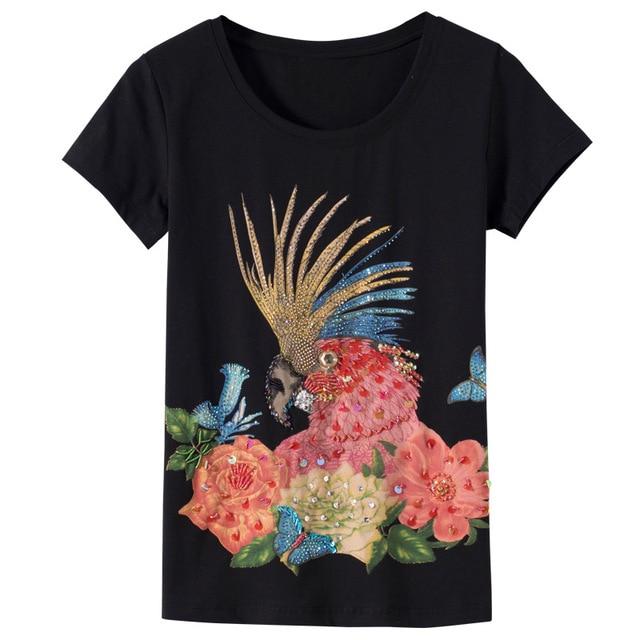 2018 Summer Short Sleeve T Shirt Women Parrot beaded sequined T-shirt Women  Tops Tee 11b119d982d6