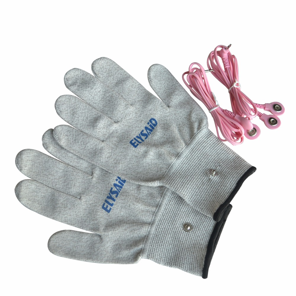 1Pair Conductive Silver Fiber Breathable Electrotherapy Massage TENS Electrode Gloves+2Pcs Pink 2 in 1 Connecting Wire Cable