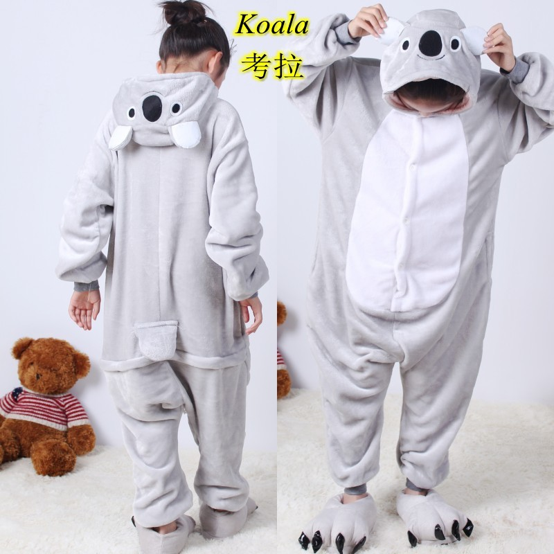 Flannel Children Pajamas Set Winter Hooded Animal Koala, Stich, KT cat, Pikachu Stitch Kids Pajamas For Kids Sleepwear Onesies