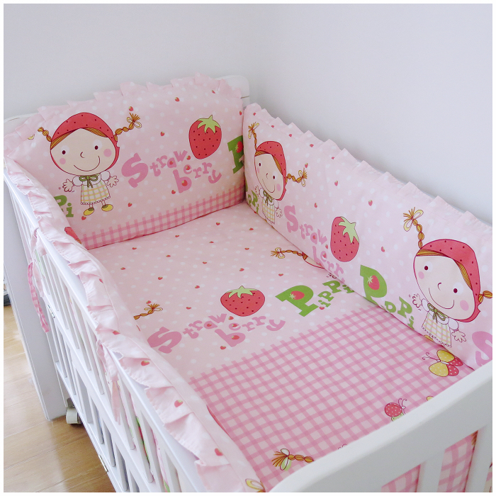 Promotion! 6PCS Strawberry girl Cot Bedding Set Crib Baby Bedding Crib Sets (bumper+sheet+pillow cover) promotion 6pcs baby crib bedding set for girl boys bedding set kids cot bumper baby cot sets include 4bumpers sheet pillow