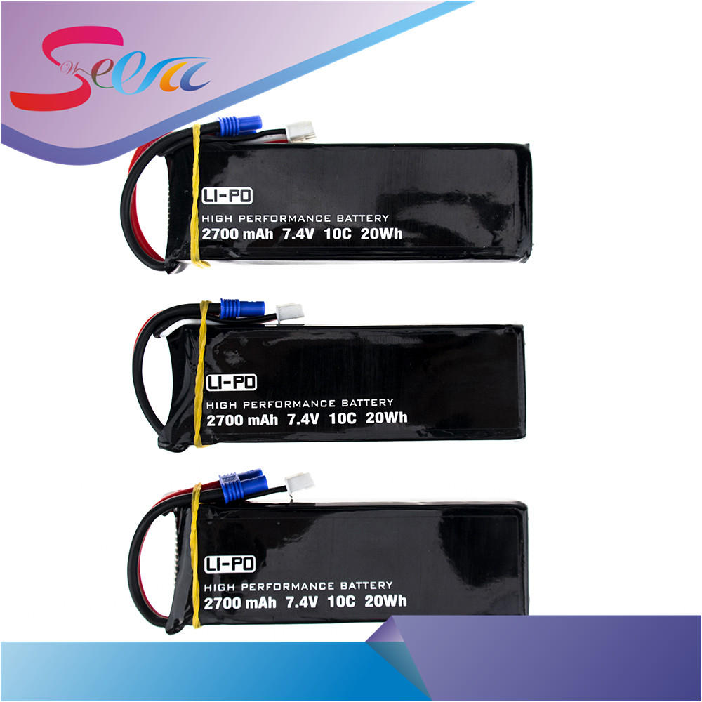 H501S lipo battery 7.4V 2700mAh 10C Batteies 3pcs for Hubsan H501C rc Quadcopter Airplane drone Spare Parts 2pcs high quality 4s full 5400mah 14 8v 79 92wh replacement lipo battery for yuneec typhoon h drone rc quadcopter