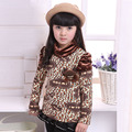 Girls Shirts Leopard Plus Velvet Outerwear Autumn Children Sweater Warm Children Clothes Winter Infant Clothing Bottoming Shirts