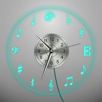 1Piece Music Theme Wall Clock Music Notes Wall Art Time Clock Watch Creative Duvar Saati Horloge Home Decorative Musician Gift
