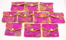 beauty 10 pcs pink flower baldachin cloth gift jewelry bags pouches 65mm*80mm