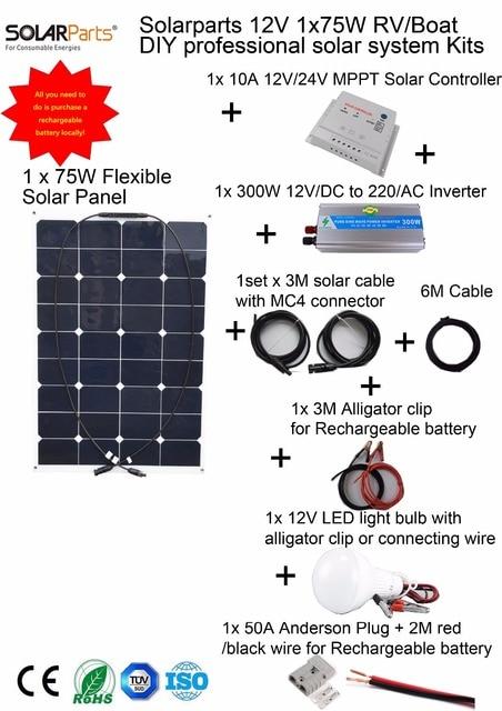 boguang 75w professional diy rv boat kits solar system flexible rh aliexpress com Solar Wiring Diagrams for Homes RV Solar Panel Wiring Diagram