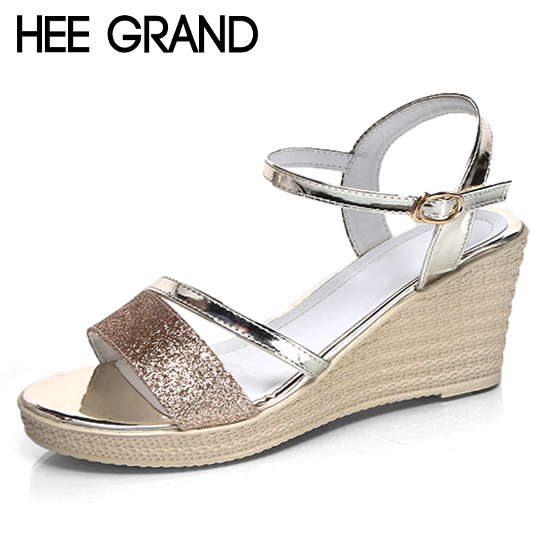 HEE GRAND 2017 Gladiator Sandals Gold Silver Shoes Woman Summer Platform Wedges Glitters High Heels Casual Women Shoes XWZ4018 lanshulan wedges gladiator sandals 2017 summer peep toe platform slippers casual glitters shoes woman slip on flats creepers