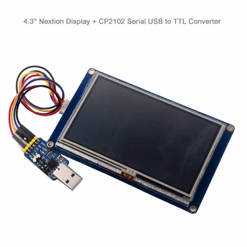 Nextion 4.3'' HMI LCD Display Module TFT Touch Panel NX4827T043 with CP2102 Serial Module USB to TTL for Arduino Raspberry Pi цена