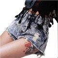 Imagen Real de La Moda Vintage Mujer de Cintura Alta Punk Rasgado Refriega Hippy Summer Hot Sexy Pantalones Cortos de Mezclilla Ocasional agujero Jeans Plus tamaño
