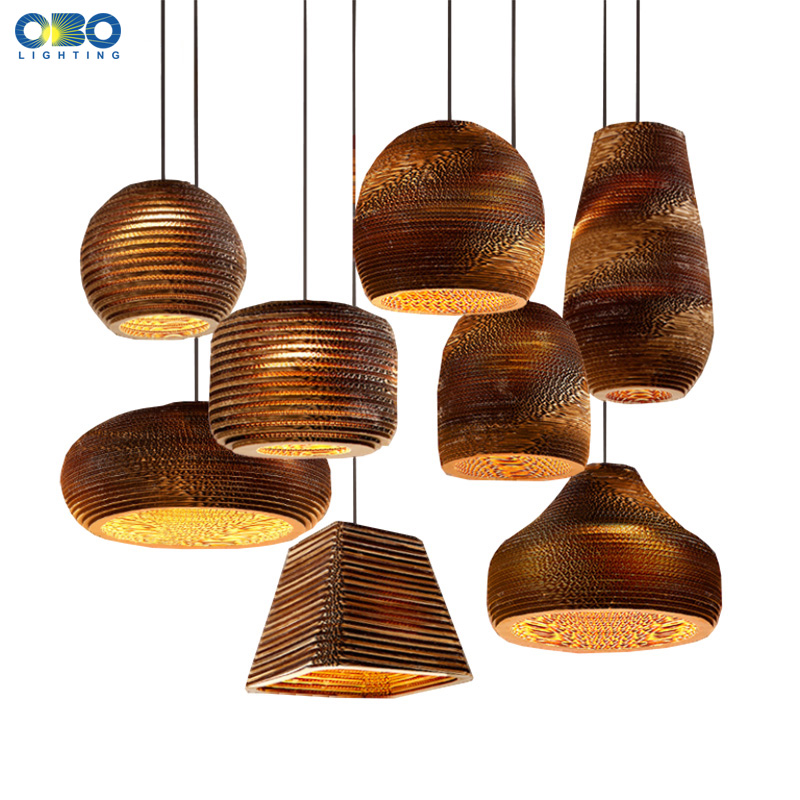Creative Vintage Paper Honeycomb Pendant Lamp Indendørs Bar Adornment Lighting E27 Lampholder 110-240V Gratis Levering