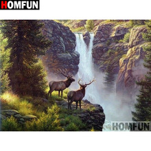 HOMFUN Full Square/Round Drill 5D DIY Diamond Painting Deer waterfall Embroidery Cross Stitch Home Decor Gift A16409