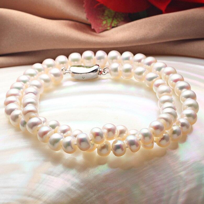 925 argent réel naturel grand collier de perles d'eau douce naturelle, 8-9mm perle naturelle, envoyer maman, envoyer petite amie, usine spéciale p