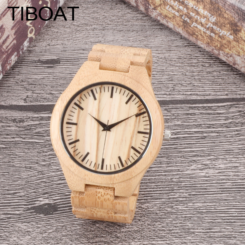 TIBOAT Cool Full Wood Watch Men Wood Wristwatch Mens Watches With Bamboo Strap Casual Unique Design Male For Gift natural bamboo watch men casual watches male analog quartz soft genuine leather strap antique wood wristwatch gift reloje hombre