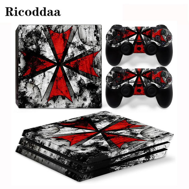 Resident Evil Viny Decal Sticker For PS4 Pro Console + 2 Controller Skin Sticker For Sony Playstation 4 Pro Game Accessories