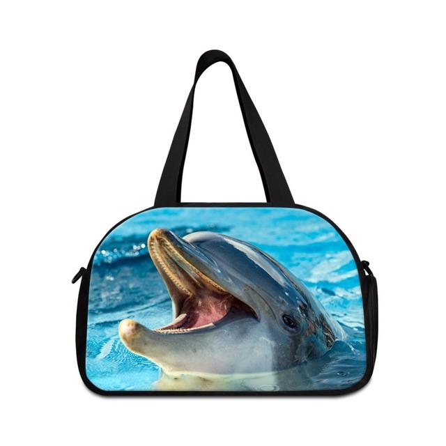 Tamanho médio sacos de viagem duffle bag padrão animal tubarão para woemen bonito bolsas feminino mochila de viagem saco desportivo bolsa para juventude