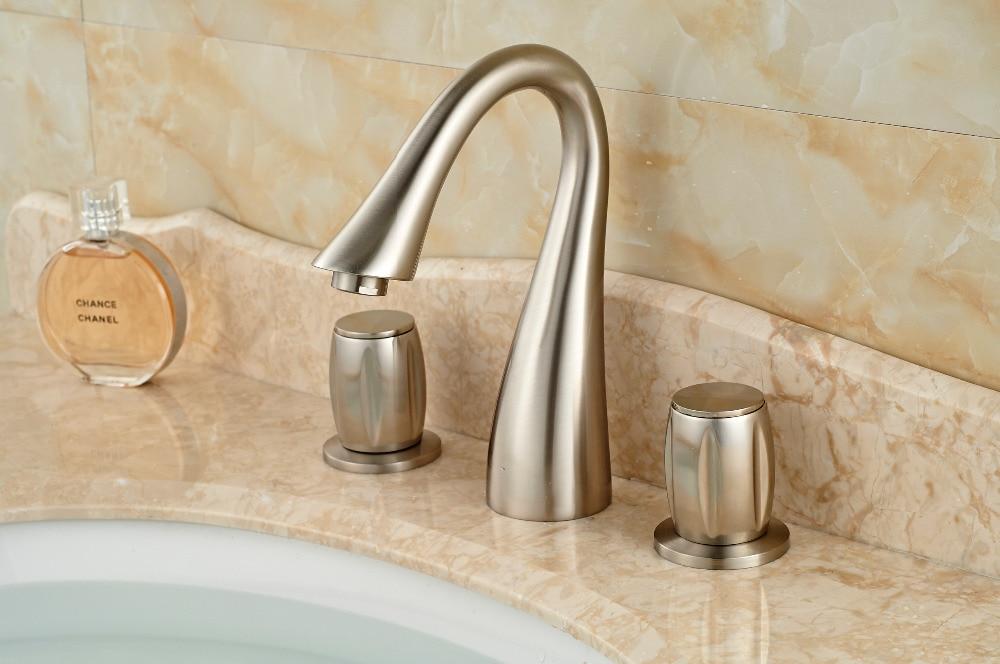 Deck Mounted Bathroom Waterfall Bathtub Faucet Mixer Tap Brushed Nickel Finish 3 Holes цена