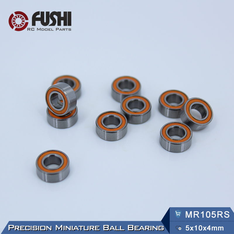 MR105RS Bearing ABEC-3 (10PCS) 5X10X4 mm Miniature MR105-2RS Ball Bearings Orange Sealed MR105 2RS Quality 1pcs 71901 71901cd p4 7901 12x24x6 mochu thin walled miniature angular contact bearings speed spindle bearings cnc abec 7