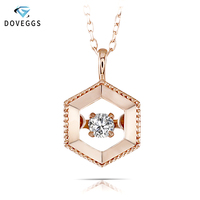 DovEggs Rose Gold Ladies Diamond Pendant Necklace 10K Rose Gold 0.1carat Diamond Dancing Setting Link Chain Necklace For Women