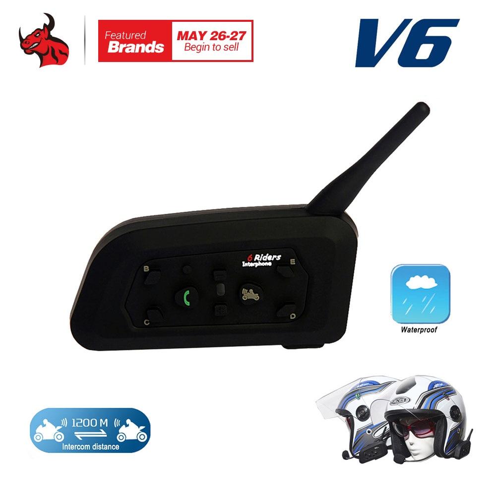 VNETPHON 1200M BT Bluetooth Motorcycle Helmet Intercom 6 Riders Full Duplex Wireless Bluetooth Communication Interphone Headset