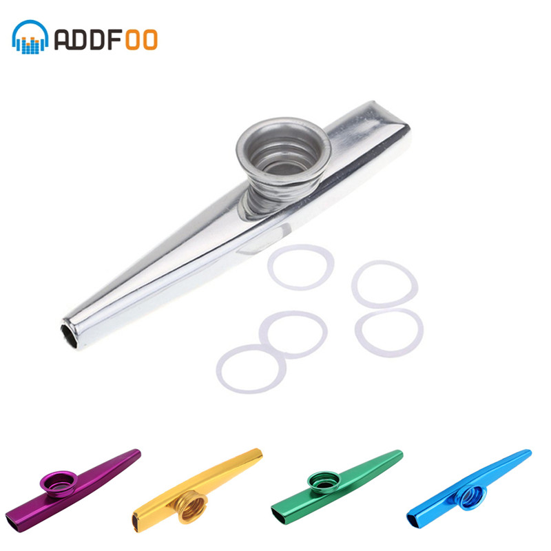 ADDFOO Kazoo Aluminum alloy Metal with 5 pcs Gifts Flute Diaphragm for Children Music-lovers Woodwind Instrument 5 Colors