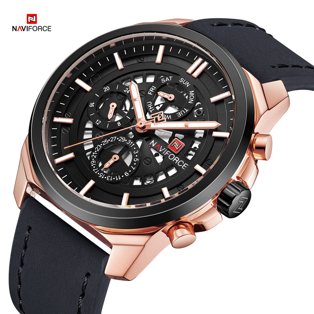 цена Mens Watches NAVIFORCE 2018 Top Luxury Brand Sport Watch Man Leather Business Male Clock Quartz Analog Display Relogio Masculino